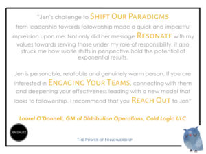 the power of followership jen dalitz laurel testimonial jpg